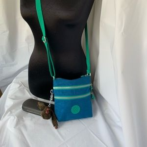 Kipling Small Crossbody Purse Turquoise & Green